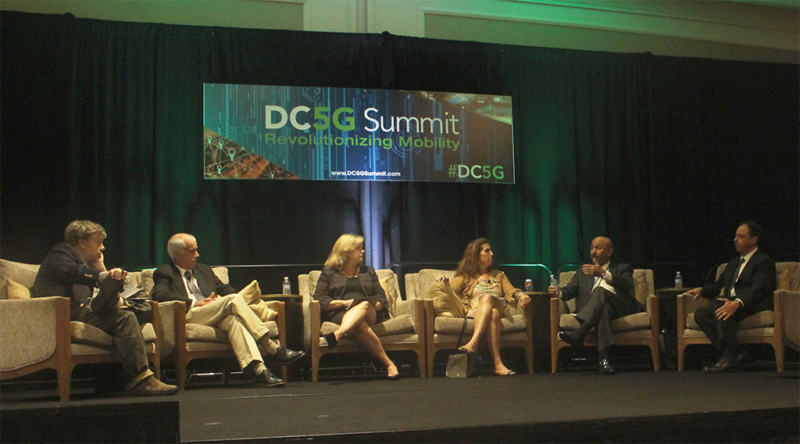 From L-R: moderator Howard Buskirk, executive senior editor for Communications Daily; Humberto La Roche, principal engineer at CTAO Cisco; Jill Canfield, senior regulatory counsel at NTCA; Jennifer Manner, SVP of regulatory affairs at EchoStar; Kalpak Gude, DSA President; Iyad Tarazi, CEO of Federated Wireless. Photo: Access Intelligence/TJ Syndor.