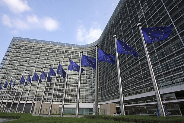 EU flags in front of the European Commission. Photo: EUD.