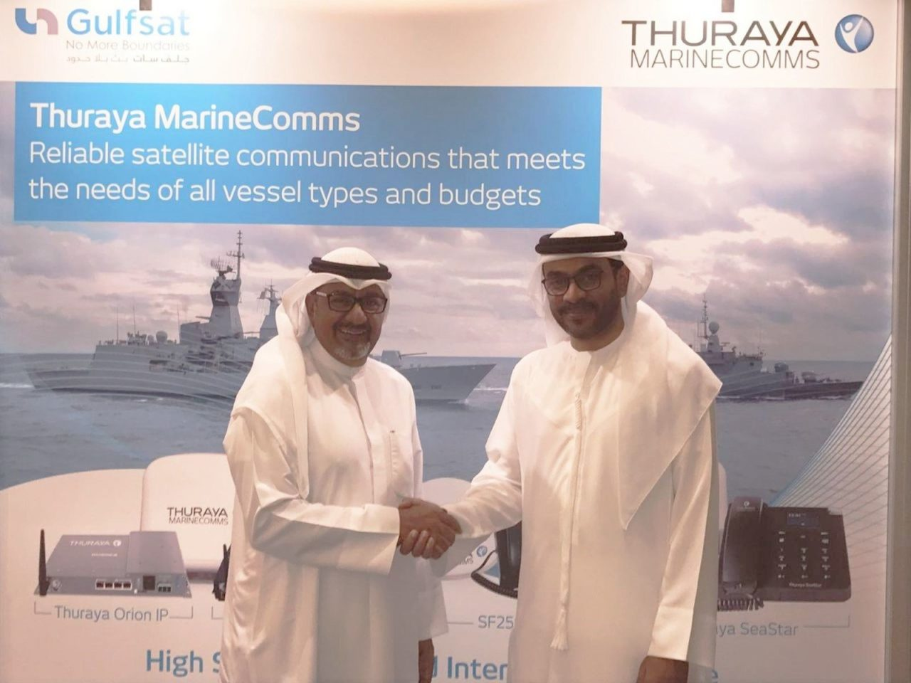 Fahad Kahoor, Thuraya director of market development and Mohammad Al-Haj, Gulfsat chairman and CEO, during the signing of the agreement at OPV Middle East. Photo: Thuraya.