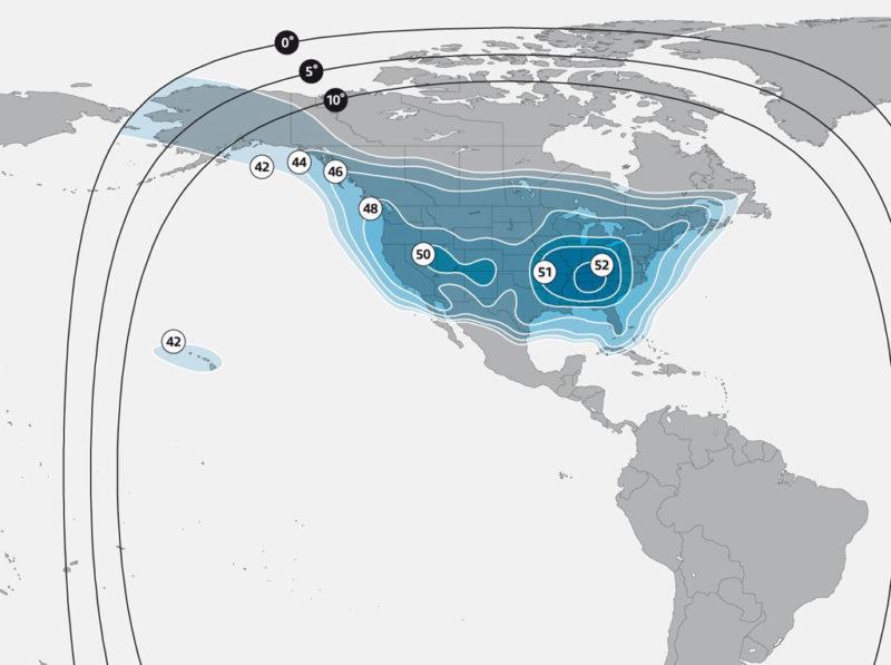 SES 1's North American Ku-band footprint. Photo: SES.