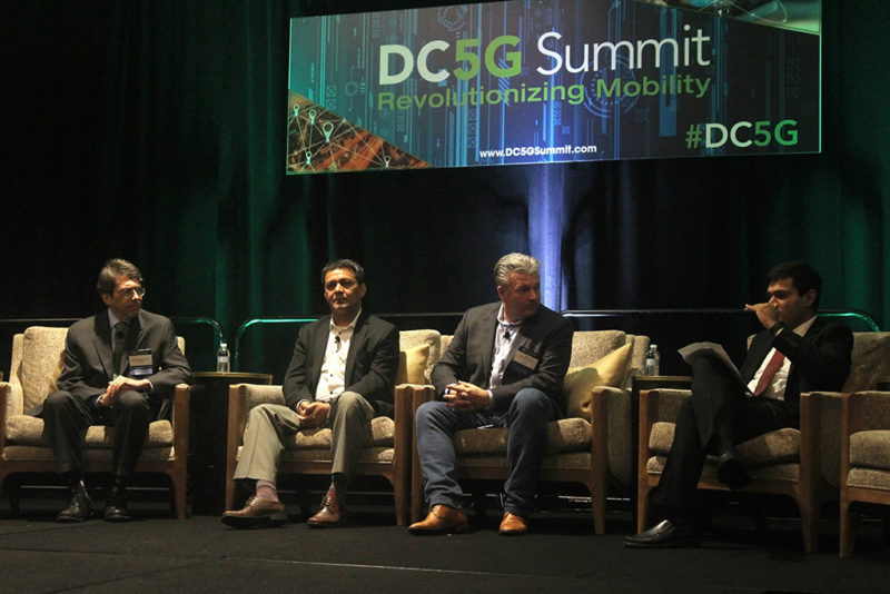 L-R: Steve Pastorkovich, telecommunications consultant; Tariq Khan, chief technologist of cloud and SDN for NFV at HPE; Phil Lawson Shanks, chief architect and VP of innovation at Edgeconnex; Rikin Thakker, VP of telecommnications and spectrum policy at MMTC. Photo: Access Intelligence/TJ Syndor.
