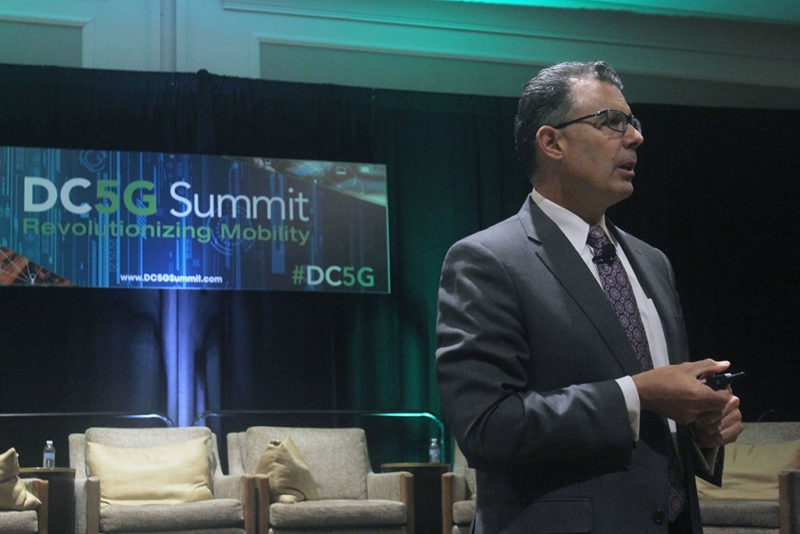 Intelsat SVP of Sales and Marketing Kurt Riegelman delivers a presentation at the DC5G 2017 Summit. Photo: Access Intelligence/TJ Sydnor.