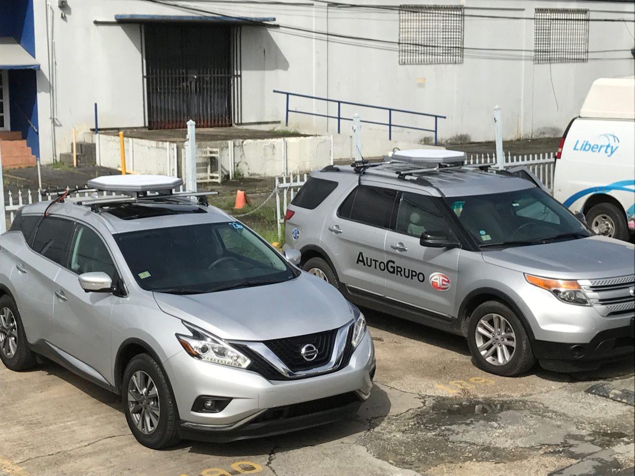 Liberty Global vehicles equipped with Kymeta antennas. Photo: Kymeta.