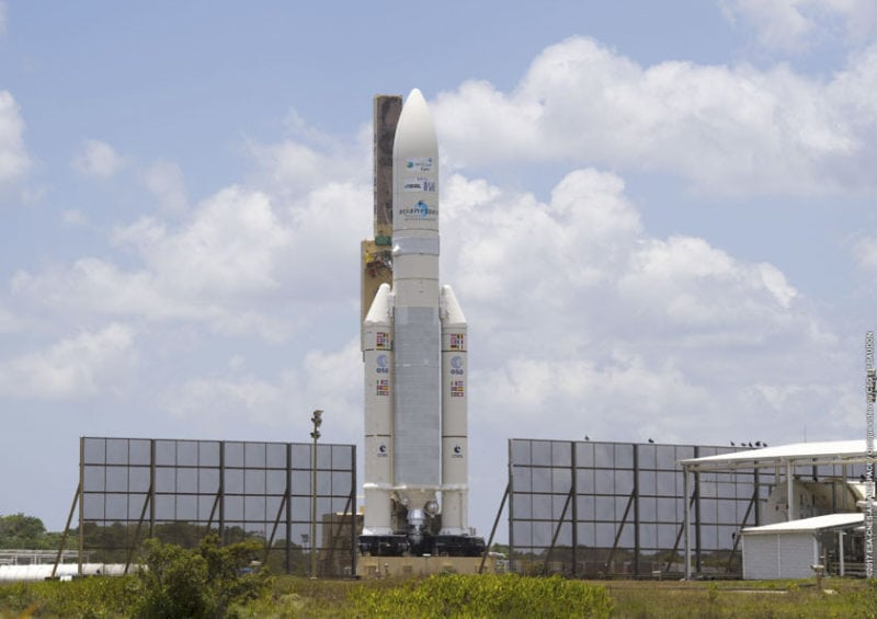 Ariane 5 awaits launch on Sept. 29 at the Guiana Space Center in French Guiana. Photo: Arianespace.