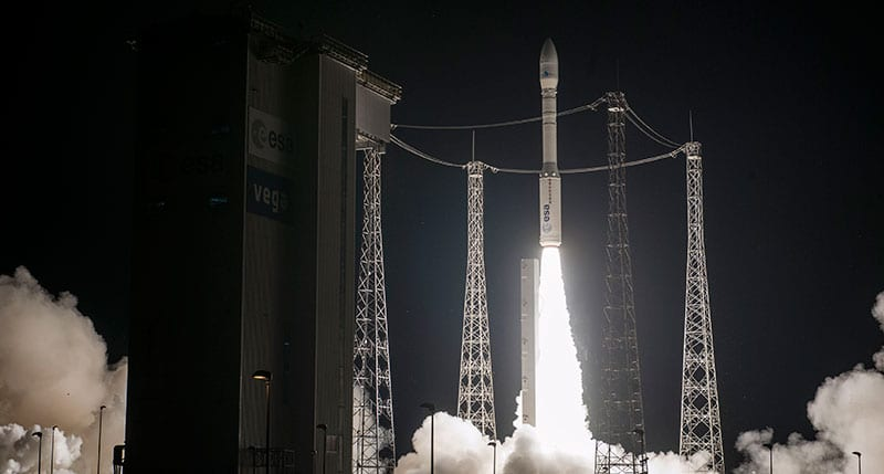 The light-lift Vega ascends from the Spaceport's SLV launch complex with the Mohammed 6-A satellite. Photo: Arianespace