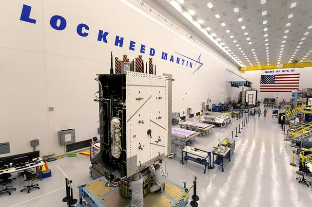 GPS 3 SV03 fully assembled at Lockheed Martin's satellite manufacturing facility near Denver, Colorado. Photo: Lockheed Martin.