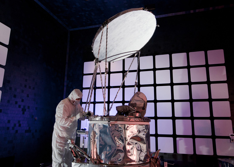 The Global Precipitation Measurement Microwave Imager (GMI) for NASA's Global Precipitation Measurement mission undergoes electromagnetic interference and compatibility testing at Ball Aerospace. Photo: Ball Aerospace.