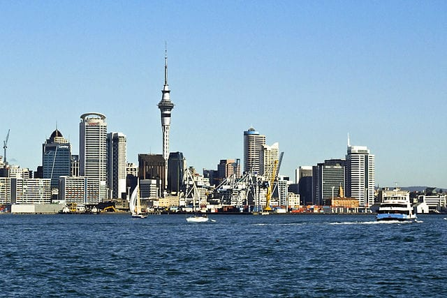 Auckland waterfront as seen from the North Shore, New Zealand. Photo: Wikimedia.