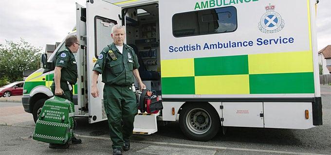 A paramedic leaves his ambulance. Photo: Scottish Ambulance Service.