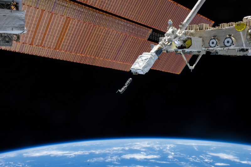 Earth's horizon and the blackness of space provide the backdrop for the Feb. 11 deployment of the first of 33 small satellites using the NanoRacks CubeSat Deployer. Photo: NASA.