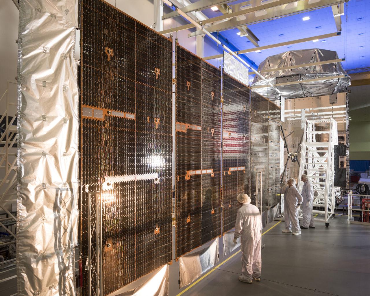 MUOS SV 3 (MUOS 5) final SAWA installation at Lockheed's satellite manufacturing facility. Photo: Lockheed Martin.