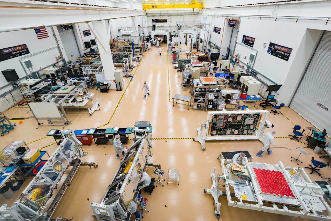 The Iridium Next production line at Orbital ATK's satellite manufacturing facility in Gilbert, Arizona. Photo: Orbital ATK.