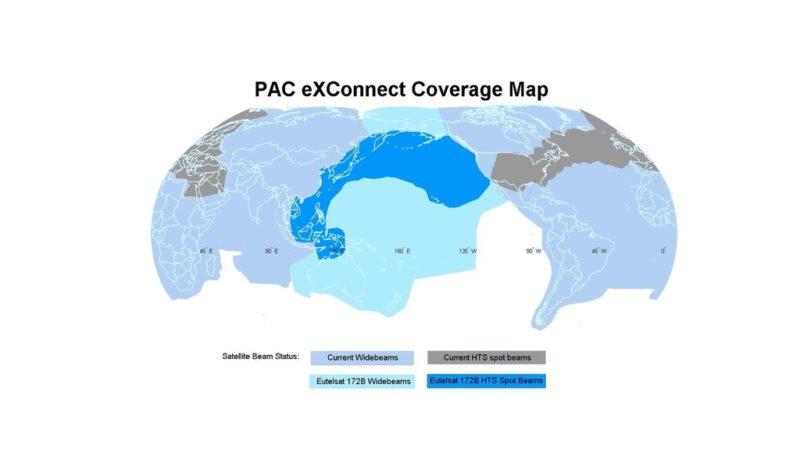 Eutelsat 172B Coverage Map for Panasonic Avionics.