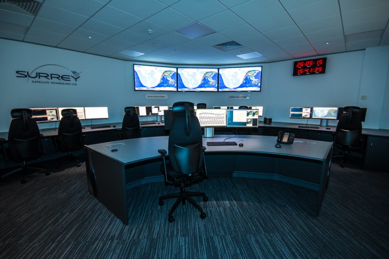 SSTL's spacecraft operations center in Guildford, England. Photo: SSTL.