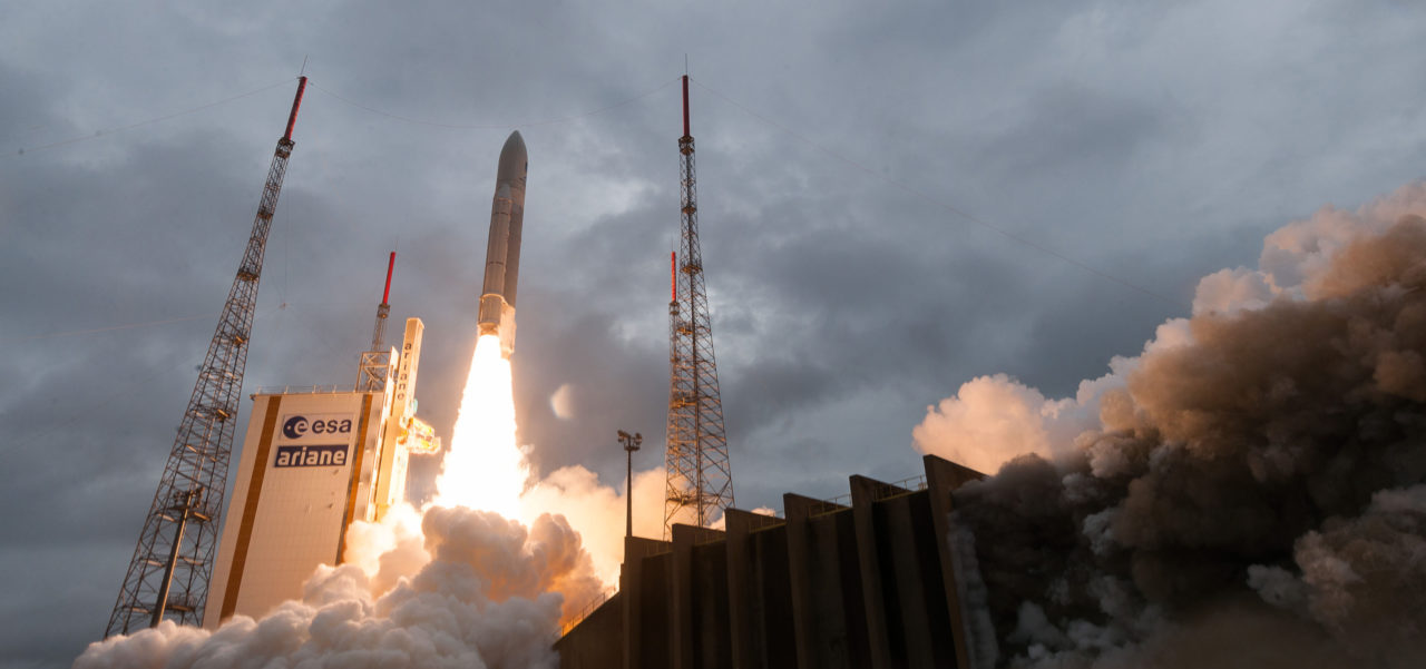 An Ariane 5 vehicle lifts off carrying four Galileo satellites on Dec. 12, 2017. Photo: Arianespace.