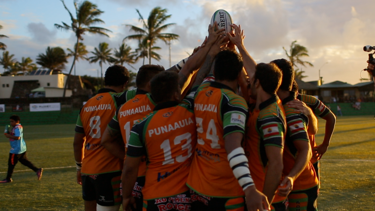 Easter Island's rugby team celebrates post-match. Photo: Global Teleports.
