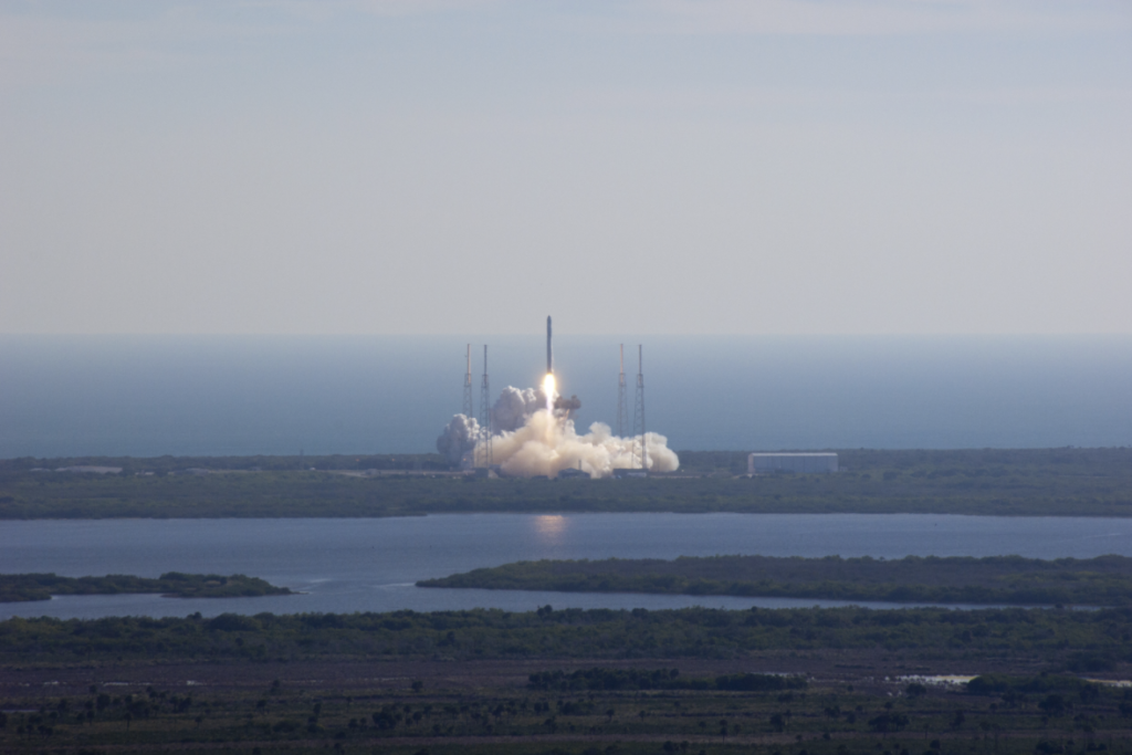 SpaceX's Falcon 9 rocket and Dragon spacecraft lift off from Launch Complex-40 at Cape Canaveral Air Force Station, Fla., at 10:43 a.m. EST, Wednesday, Dec. 8, 2010. NASA/Alan Ault