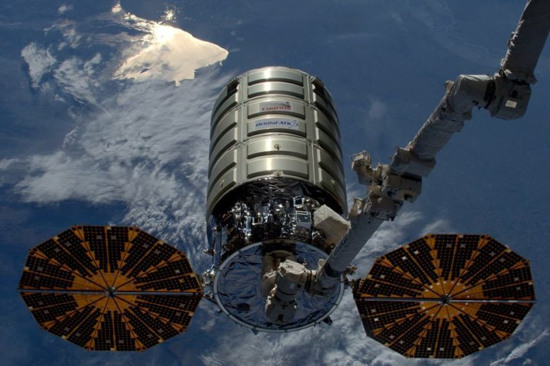 Orbital ATK's OA-8 Cygnus prepares to leave the International Space Station. Photo: NASA.