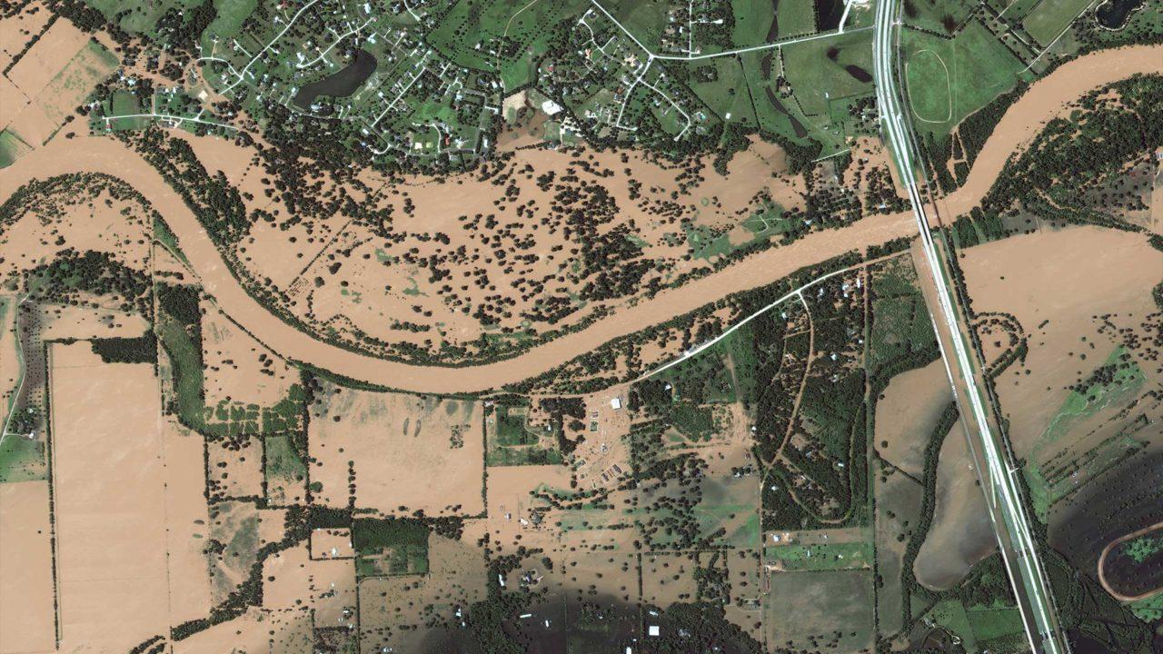 DigitalGlobe's WorldView 2 satellite shows the extensive flooding in Brookshire, Texas, after Hurricane Harvey made landfall. Photo: DigitalGlobe.