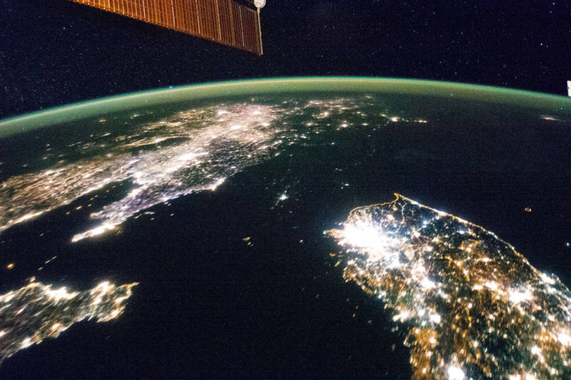 When observed from space at night, North Korea (the dark spot in the center) is difficult to distinguish. Photo: NASA.