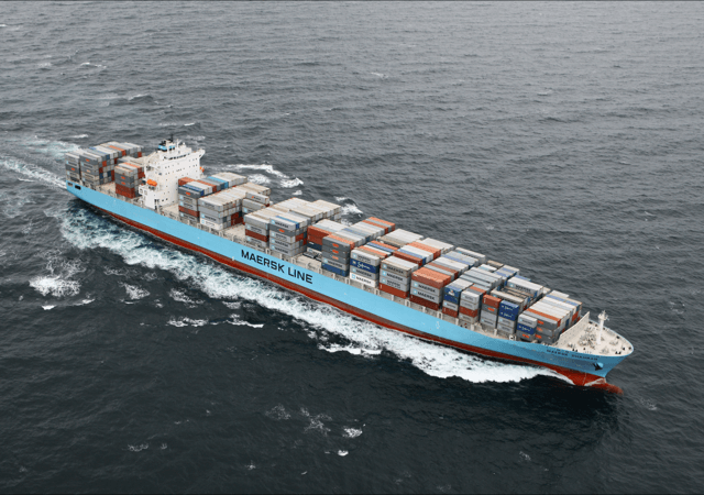 A cargo vessel owned by Marlink customer Maersk. Photo: Maersk Line.