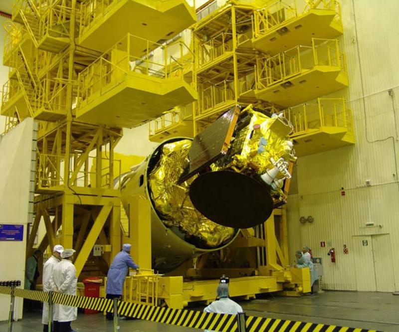 AngoSat 1 during the integration phase. Photo: RSC Energia.