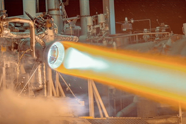 Aerojet Rocketdyne's hot-fire test of an additively manufactured thrust chamber assembly at its West Palm Beach, Florida facility. Photo: Aerojet Rocketdyne.