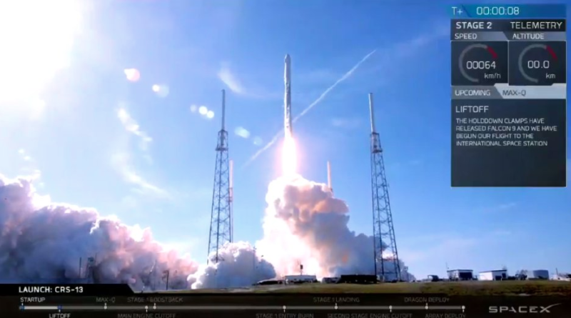 A SpaceX Falcon 9 lifts off from SLC-40 to deliver cargo to the ISS on Dec. 15, 2017. Photo: SpaceX.