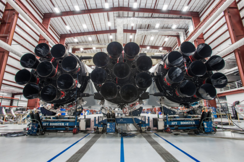 Falcon Heavy's three first stage booster cores. Photo: SpaceX.