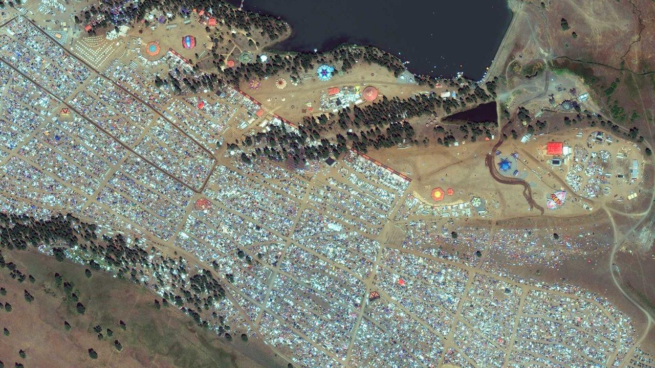 DigitalGlobe's WorldView 2 satellite shows an encampment of eclipse watchers in Big Summit Prarie, Oregon. Photo: DigitalGlobe.