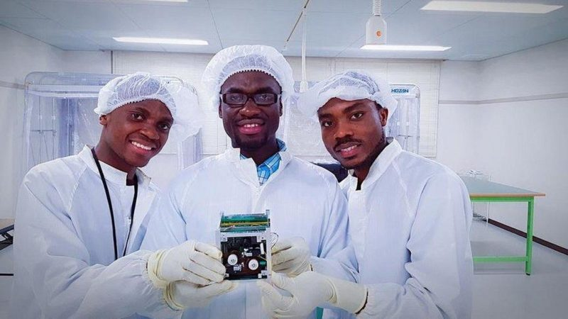 All Nations University College students Benjamin Bonsu, Joseph Quansah and Ernest Teye Matey, who developed Ghana's first satellite. Photo: All Nations University College.