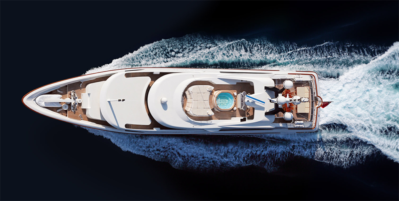 Superyacht as seen from above. Photo: OmniAccess.