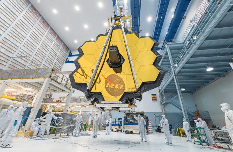 James Webb Telescope mirror seen in full bloom. Photo: NASA.
