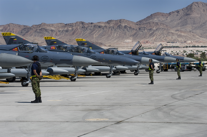 Colombian Air Force Kfir aircraft prepare for a mission during Red Flag 12-4 July 18, 2012, at Nellis Air Force Base, Nevada. Photo: U.S. Air Force/Staff Sgt. William P. Coleman.