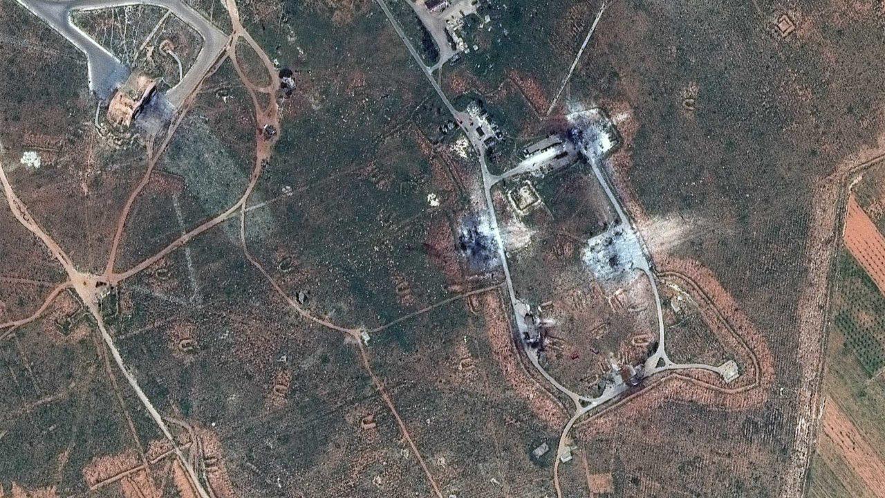 Aftermath of the U.S. airstrike on Al Shayrat airfield in Syria. Photo: DigitalGlobe.