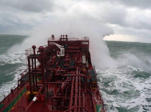 A De Poli Tankers vessel crashes over waves at sea. Photo: De Poli Tankers.