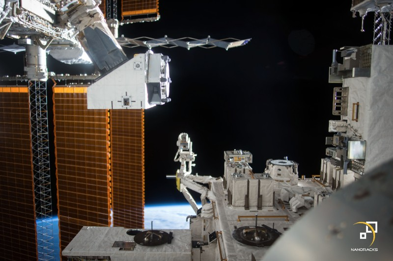 Astronauts reinstalled NanoRack's External Platform (as seen in the top left) on the outside of the ISS. Photo: NanoRacks.