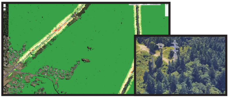 From Lidar data risk of arcing is interpolated. 3D viewing provides context and verification. Photo: Pacific Data Integrators