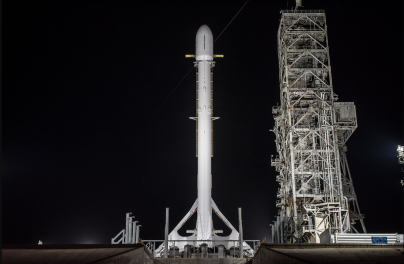 SpaceX's Falcon 9 goes vertical with the Zuma payload ahead of the scrubbed launch last November. Photo: SpaceX.