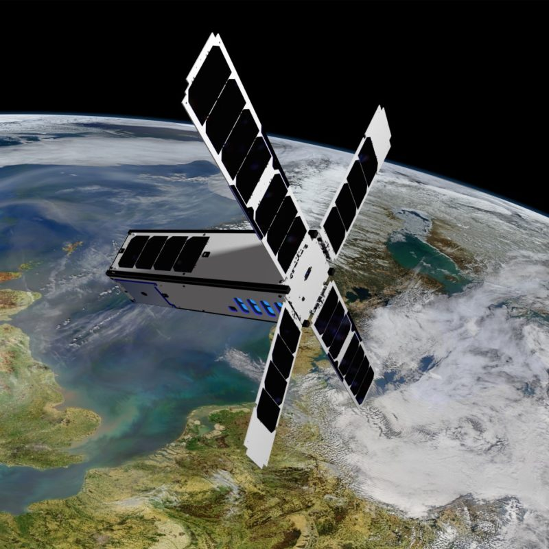 Rendition of the SeaHawk 1 satellite in orbit. Photo: Clyde Space.