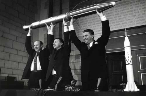 The creators of Explorer 1 holding a model of it on the press conference at launch day, February 1, 1958. L-R: William Pickering, James Van Allen, Wernher von Braun. Photo: NASA.