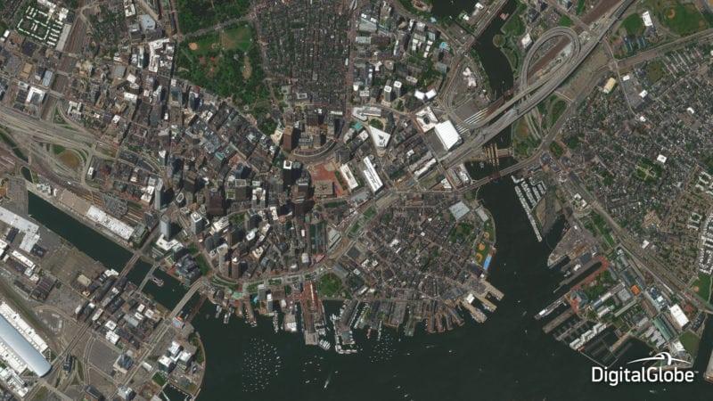 DigitalGlobe's WorldView 2 satellite captured this image of Boston, Massachusetts in July 2014. Photo: DigitalGlobe.