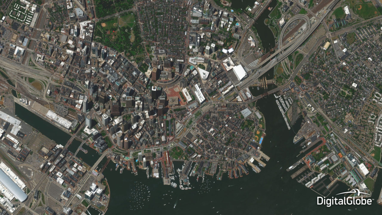 DigitalGlobe's WorldView 2 satellite captured this image of Boston, Massachusetts in July 2014. Photo: DigitalGlobe.
