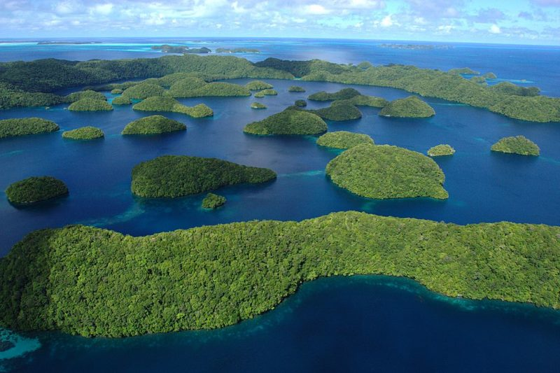 A scattering of islands in the Palau archipelago. Photo: Wikimedia.