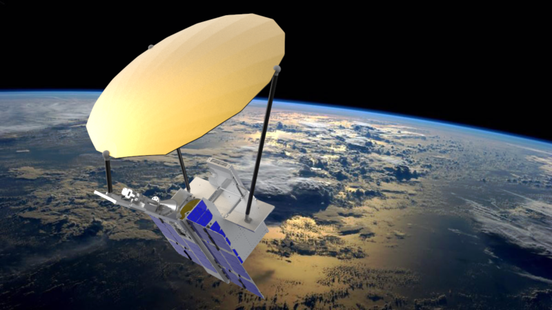 Rendition of the NSLSat 1 with its dish-shaped antenna. Photo: Clyde Space.