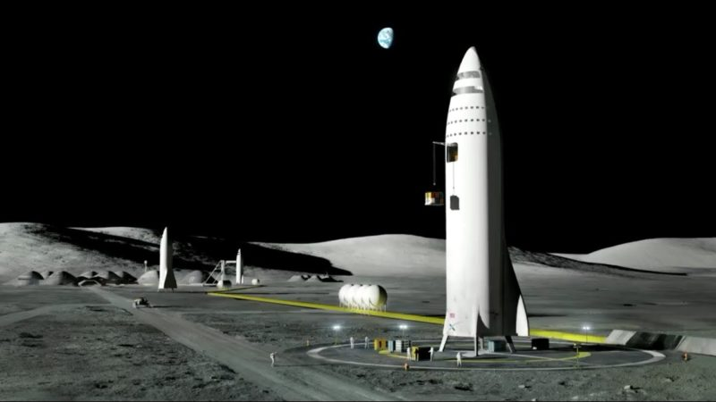 Rendition of SpaceX's BFR on a Moon launchpad. Photo: SpaceX.