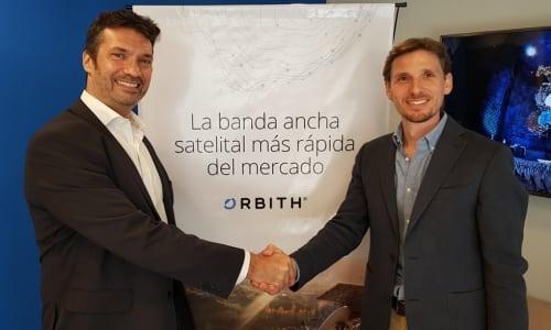 Regional sales director Fabian Burgos of Newtec (left) with Pablo Mosiul, CEO of Orbith. Photo: Newtec.
