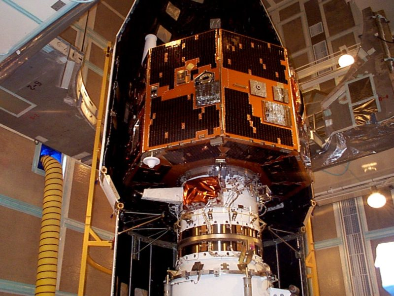 The IMAGE spacecraft undergoing launch preparations in early 2000. Photo: NASA.