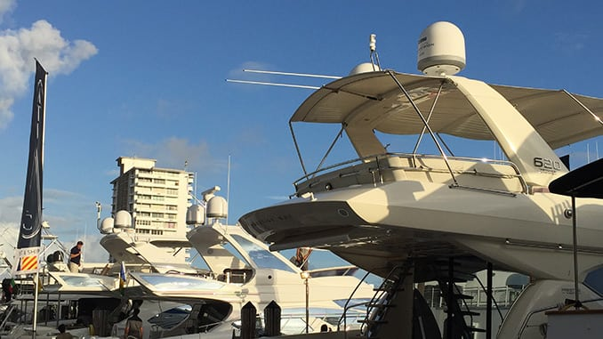 KVH reflector domes installed on-board a series of yachts. Photo: KVH.