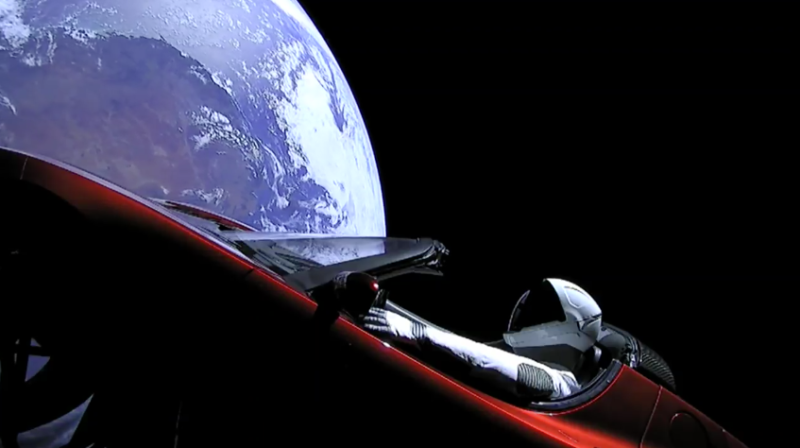 Screen grab of Starman, Elon Musk's Tesla Roadster, orbiting Earth from the SpaceX live feed